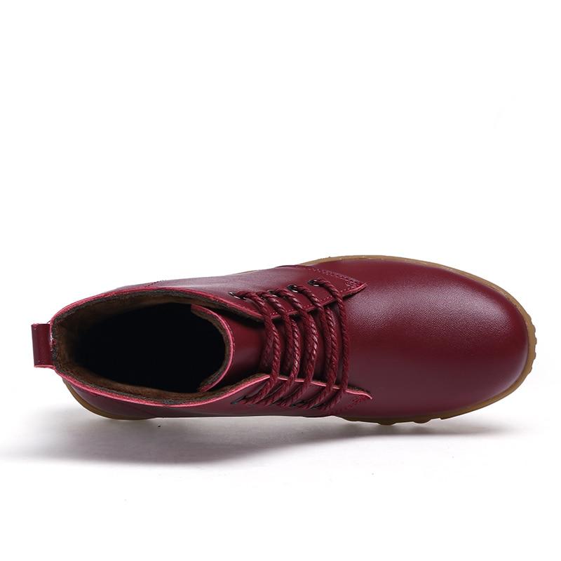 Dames vin Rouge Pilote Chaussures Cuir Véritable Fourrure Moto Femme De Bottes Martin Femmes Peluche Timetang Noir marron En Cheville HWDE9I2