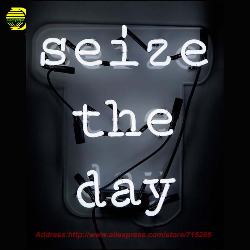 Seize the Day Neon Sign With Acrylic Neon Bulb Handcrafted Glass Tube Sign Affiche Light Recreation Room Home Great Gifts 17x14