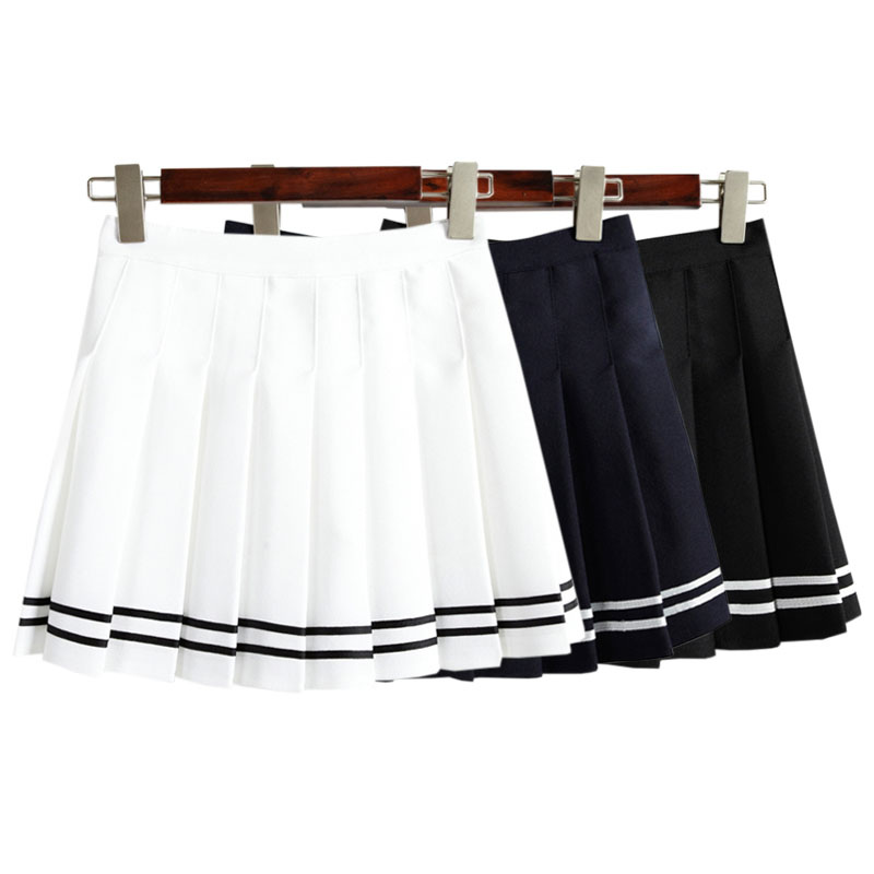 2018 Women'S Kawaii Vintage AA High Waist Pleated Skirt Female Japanese Harajuku British Preppy Style Cute Skirts For Women