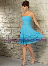 Fashion sexy short chiffon light blue bridesmaid dress vestidos de fiesta party dress vestido madrinha de casamento	 Custom made
