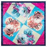 Size 60 60 Cm Emulation Silk Women S Satin Scarf 2017 New Charm Little Rose Flower