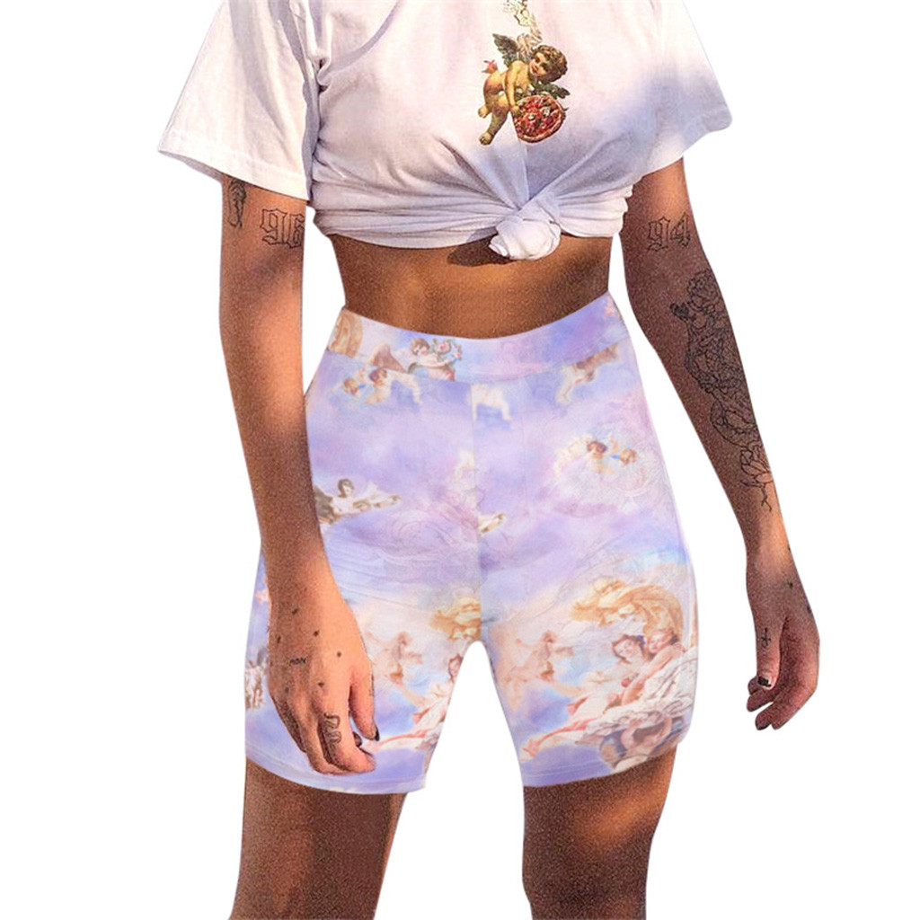 Fashion Angel Print Biker Shorts Fitness Sportswear Spring Summer High Waist Shorts 2019 Short Women's Shorts Bottom