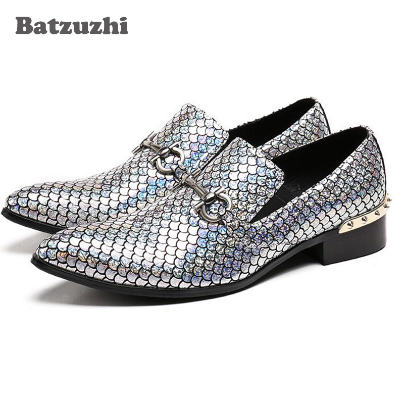 Batzuzhi Italian Men Dress Shoes Genuine Leather Luxury Wedding Business Male Shoes Pointed Toe Formal Shoes Shinny Sliver Shoes new arrival men casual business wedding formal dress genuine leather shoes pointed toe lace up derby shoe gentleman zapatos male