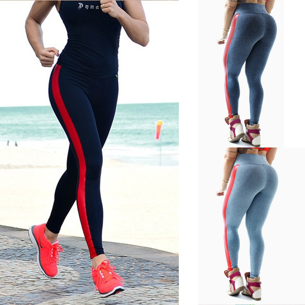 Clearance Women's Sports Pants Stripe High Waist Leggings Gym Fitness Yoga Running Jogging Pant Wear Mujer Ropa Deportiva