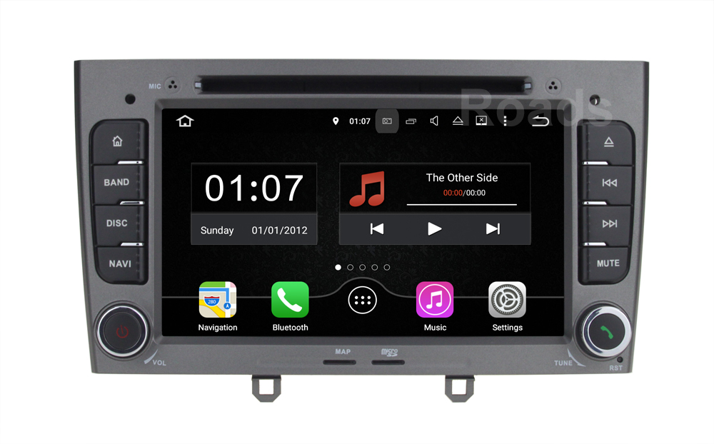 Quad core 1024 600 Android 5 1 1 Car DVD Player Multimedia Stereo for peugeot 408