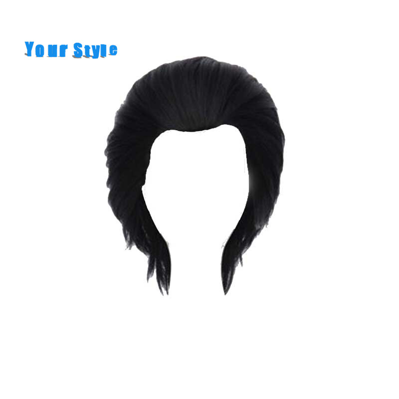 Your Style Short Black Mens Cosplay Hair Wigs Male Party Costume Synthetic Natural Hair High Temperature Fiber