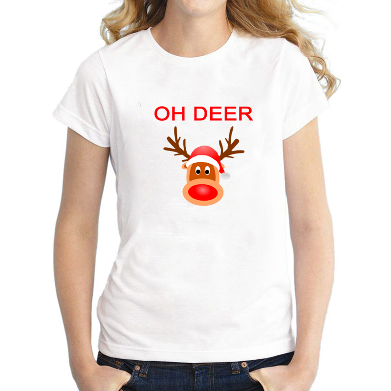 Funny OH Deer Honey Print Matching Couples Christmas T Shirts for Men and Women Cute Couples Christmas Holiday Tee color choosing