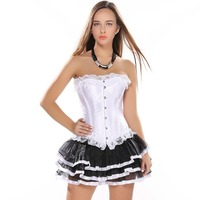 Women White Satin Lace Trim Loss Weight Corset Overbust With tutu Skirt Sexy Fancy Dress Corset Dress Free Shipping