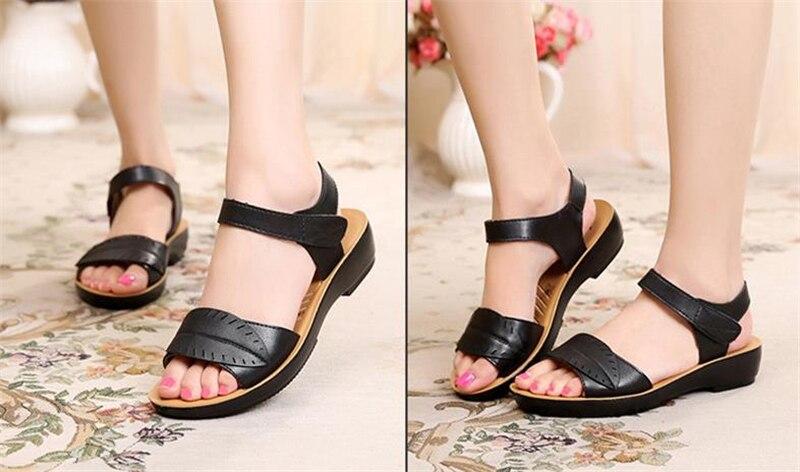 2018 new women sandals genuine leather mother's sandals flat female sandals soft bottom antiskid women sandals plus size 35-41 14
