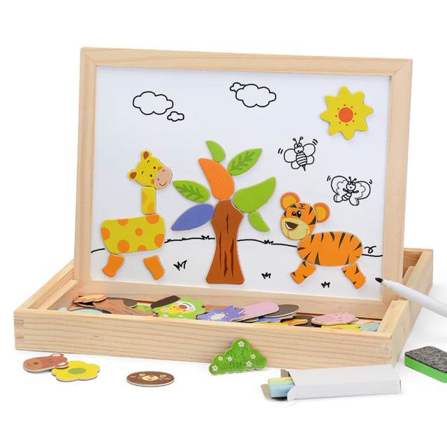 100+PCS Wooden Magnetic Puzzle Figure/Animals/ Vehicle /Circus Drawing Board 5 styles Box Educational Toy Gift 2