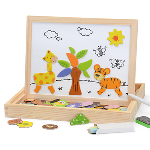 Image 3 - 100+PCS Wooden Magnetic Puzzle Figure/Animals/ Vehicle /Circus Drawing Board 5 styles Box Educational Toy Gift