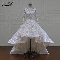 Eslieb Vestido de Noiva Court Train High/Low Wedding Dress 2018 Luxury Beading Lace Wedding Gown Plus Size Wedding Dresses