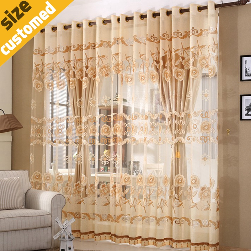 European Fashion Window Curtains Luxury Decor Bedroom Drawing Room Curtain Accept Custom 11 Colors 1pc Shade 1pcTulle