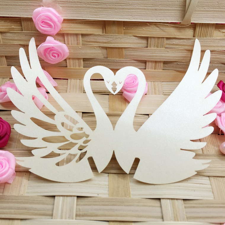 100pcs/Lot Swan Paper Place Escort Card Cup Card Wine Glass Card For Wedding Decoration Table Decoration Accessories 5CD018 pink swan 100