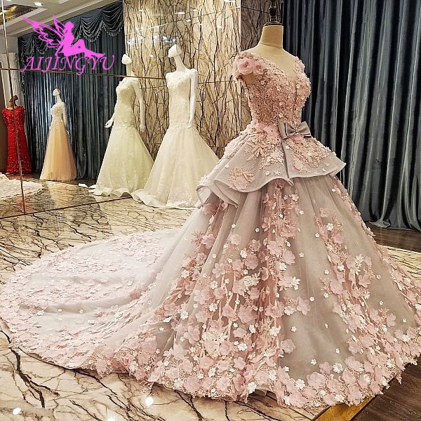 AIJINGYU Wedding Train Gowns Muslim Best Bridal Beautiful For Sale Sexy Newest Store Indian Gown Satin Wedding Dresses