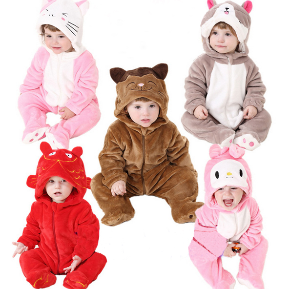 New Style Baby Rompers Newborn Baby Girl Boy Winter Romper long sleeve Fannel One-Pieces Cartoon Baby Costume Clothing