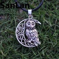 10pcs Owl Jewellery Wise OWL MOON Pendant Owl Necklace Celtic Pentagram Pendant Under The Moon Animal