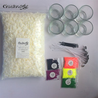 CHUANGGE Soy Candles Kits Handmade Scented Candles Making Supplies Soy Wax Dye Wicks Glass Cup DIY Materials Paraffin