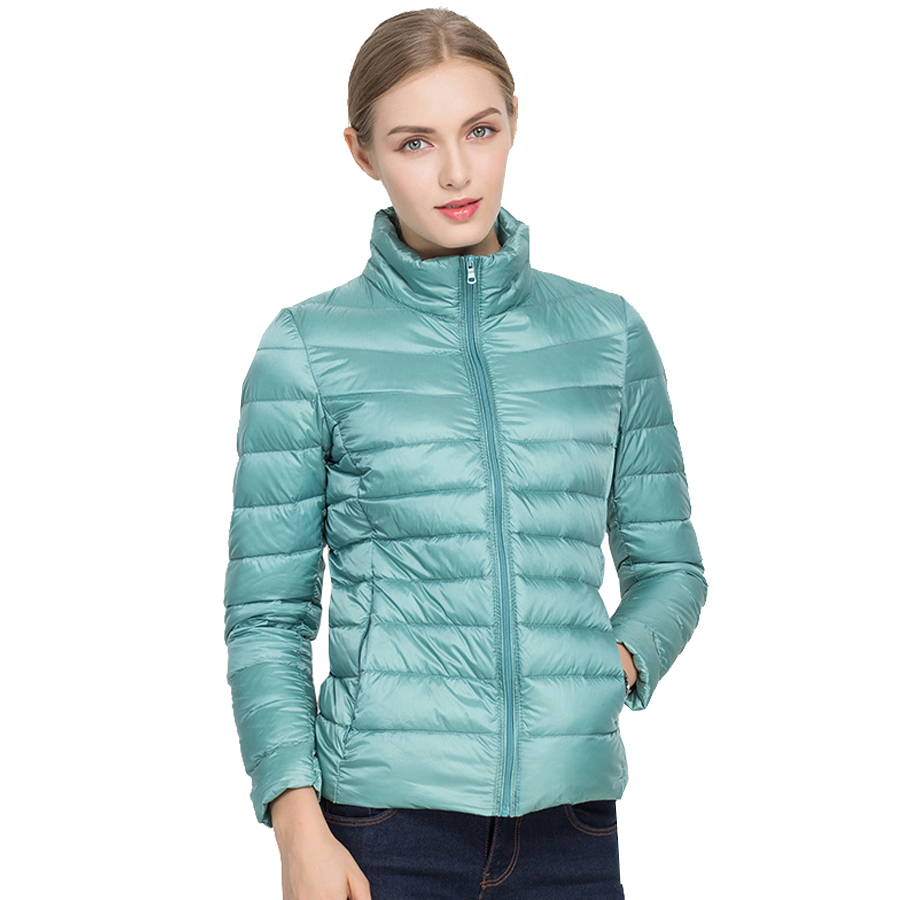 New Autumn Winter Women Ultra Light White Duck   Down   Jackets Candy Color Slim Short Design Warm   Down     Coats   casaco de neve