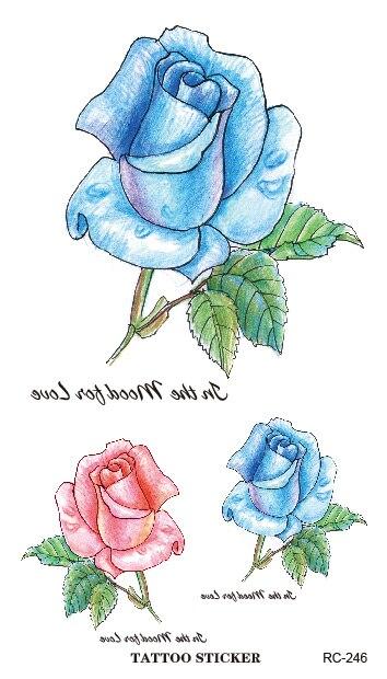 Fake Tattoo Sticker Sexy White Blue Rose Temporary Tattoo Body Art