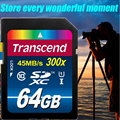 100% Real Capacity High Speed Transcend 64GB SD Card 300x Class 10 UHS-I SDXC Flash Memory Card For Camera Drive recorder