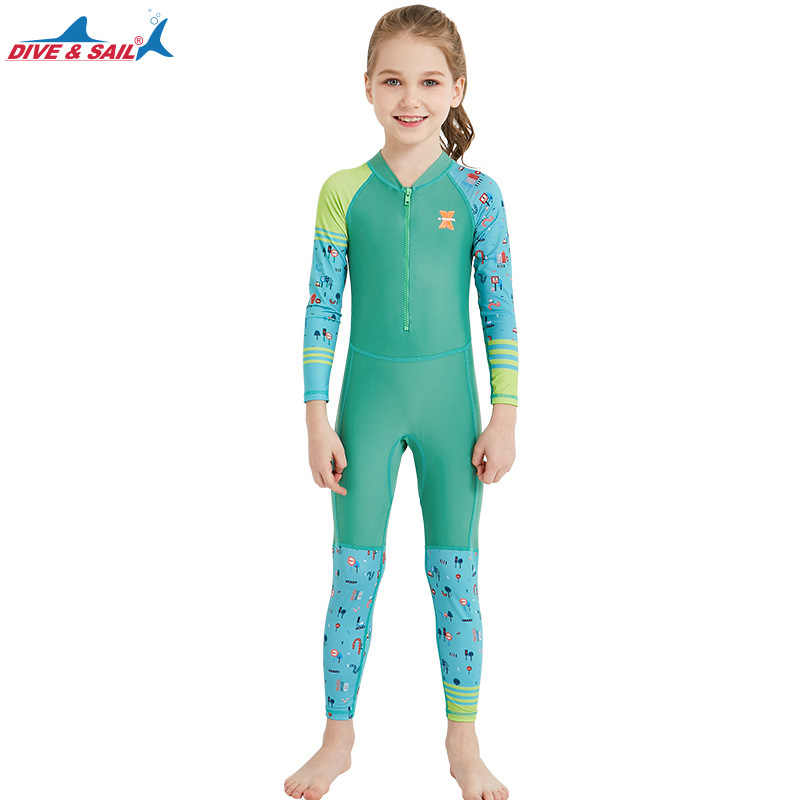 d2f9e10eae16 ... Dive Sail One Piece Swimsuit Long Sleeve UPF 50+ Kids Diving Rash Guard  Swimwear For ...