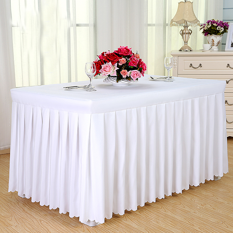new luxury customized wedding banquet hotel table cloth meeting sign in a buffet solid table skirt