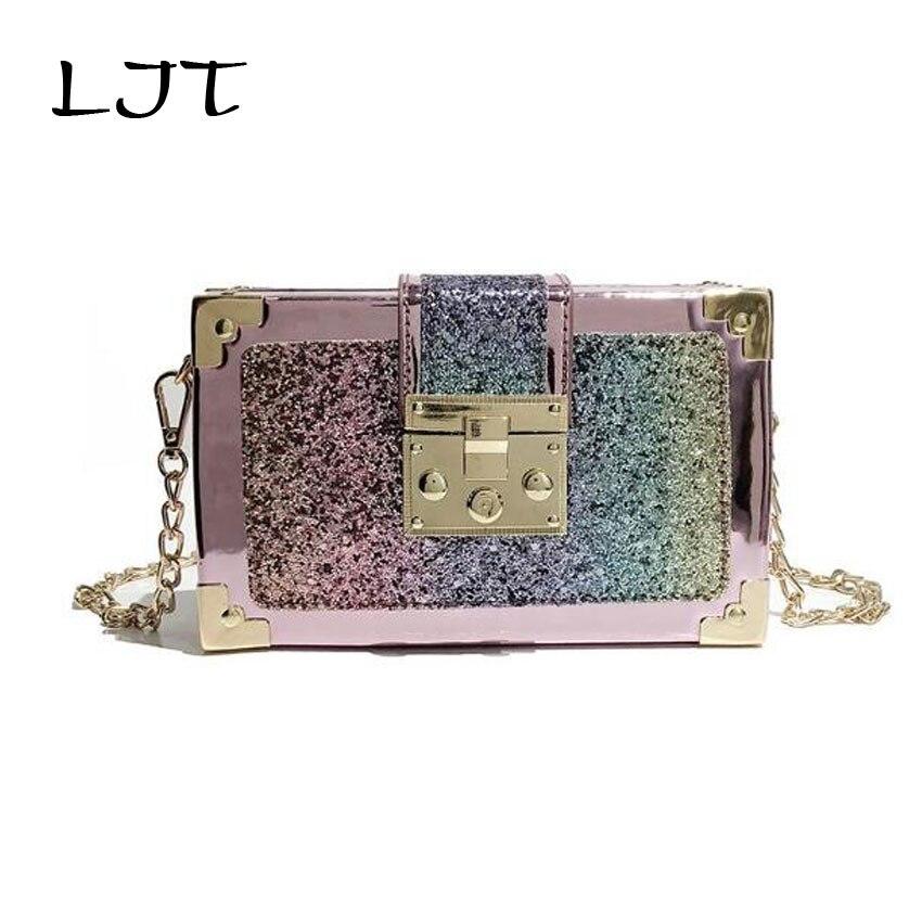 LJT Luxury Fashion Gradient Color Sequins Box Vintage Handbags Clutch Retro Women Shoulder Bag Chain Crossbody Handbag Purse