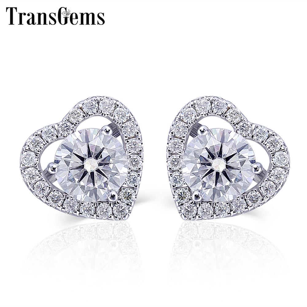 Transgems Cut 14K White gold Earrings Colorless Moissanite Stud Earring Heart Shaped Halo Earrings For Women Anniversary rhinestone heart shaped stud earrings page 4