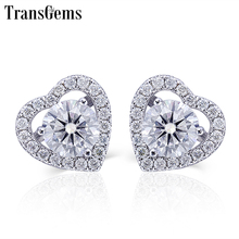 Transgems Cut 14K White gold Earrings Colorless Moissanite Stud Earring Heart Shaped Halo For Women Anniversary