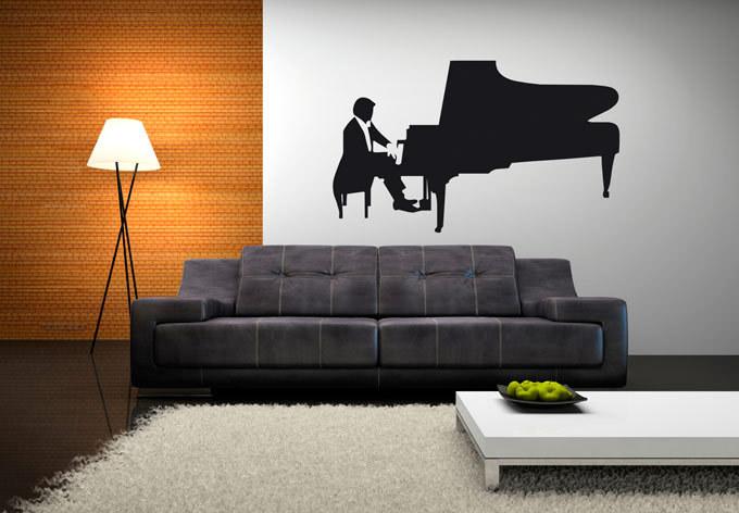 piano reproductor de msica etiqueta de la pared mural decal diy del vinilo del arte