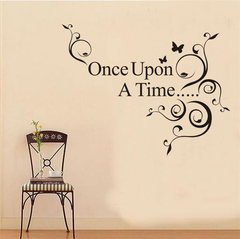 Once Upon A Time Flower Foral Butterfly Quote Art Wall Sticker Wall Decal  8045. Home Decor Removable Vinyl Wall Sticker 2.5 In Wall Stickers From  Home ... Part 95