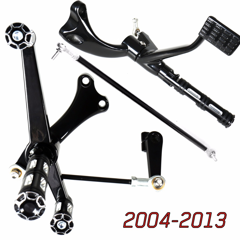 цена на Gloss Black Forward Controls Heel Toe Shifter Lever&Edge Cut Pegs&Linkages For 2004-2013 Harley Sporster XL 883 1200 Models