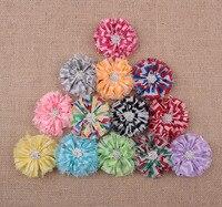 En gros 13 couleurs Ballerine Fleur Festonné En Mousseline de Soie Fleurs + Strass Bouton Rayé Léopard Tissu Fleurs Pour Bandeaux