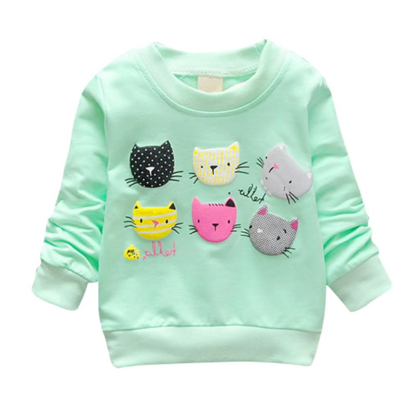 Baby Girl Pullover Cartoon Cat Print Girls Casual Sweatshirts Kids Clothes Long Sleeve Girls Clothing Hot