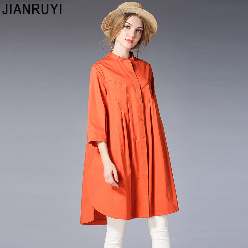JIANRUYI  2018 New spring Large Size shirt Pure colored In the long shirt   4 colors Рубашка