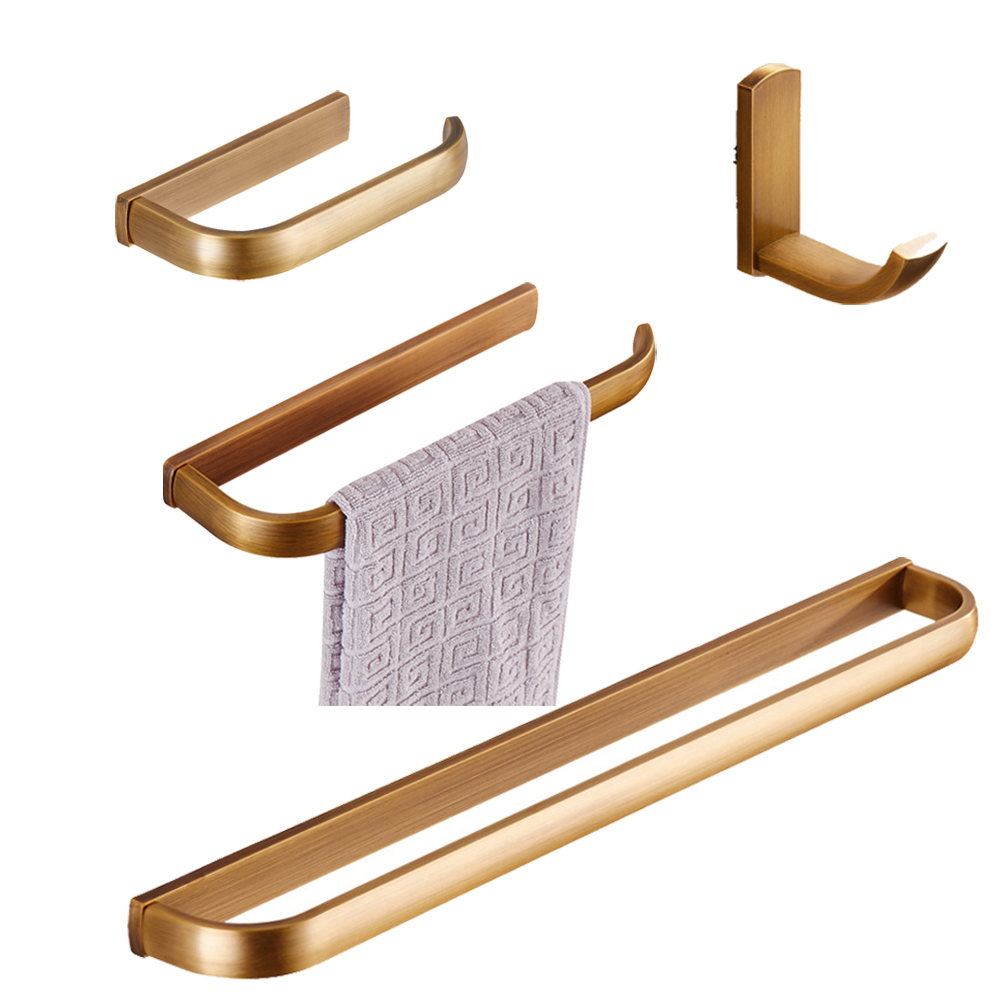 Leyden 4pcs Antique Brass Single Towel Toilet Paper Holder Towel Ring Robe Hook Towel Clothes Hats Hook Bathroom Accessories Set y3698 retro napkin towel toilet paper bin basket holder antique brass
