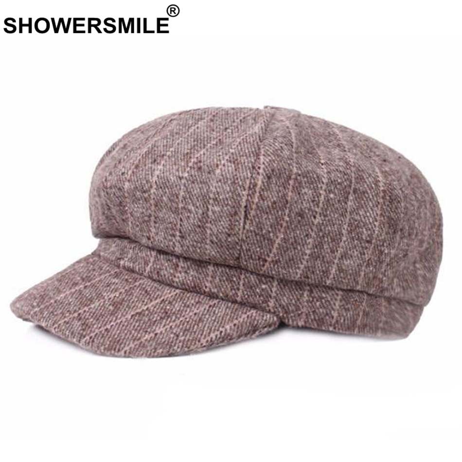 Stripe Newsboy Caps Women Khaki Wo Flat Caps Men Classic Vintage ... 5239732dc118