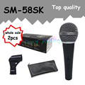 2pcs wholesale Top quality SM 58SK Free shipping vocal Karaoke microfone dynamic wired handheld microphone SM 58