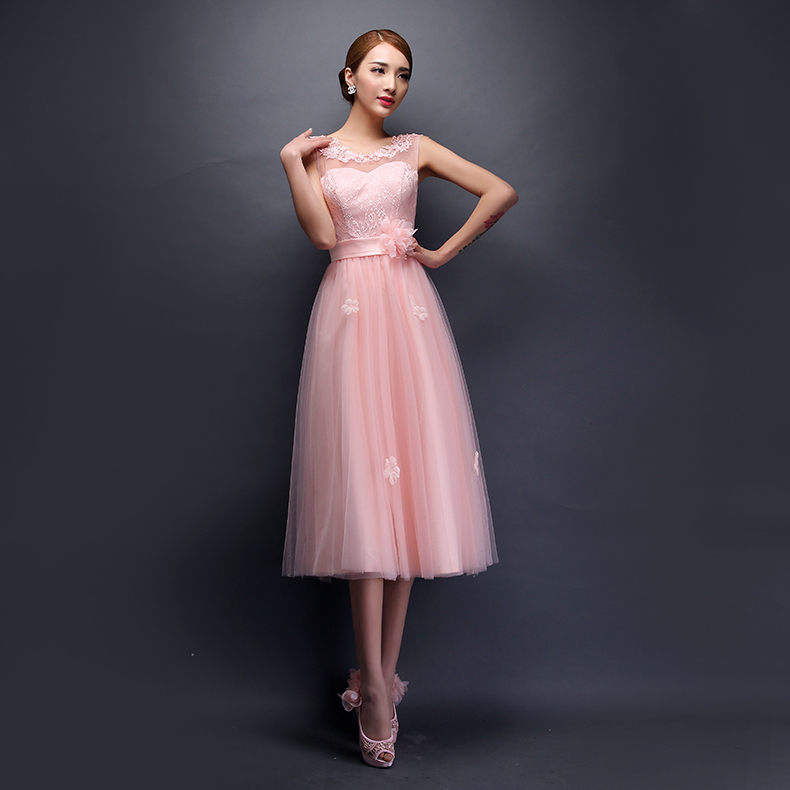 Bridesmaid Dresses 2017 Mid Calf Designed Gowns Champagne Pink 6 Styles Event Formal Dress P Knees Length In From Weddings