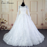 C V Long Sleeves Appliques Lace Vintage Wedding Dress 2017 White Color Ball Gown Cusotm Made