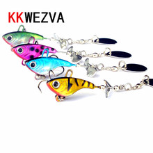 KKWEZVA 4pcs/12g Metal Sequins Fishing Lure Spoon with Rotary Noise Paillette Hard Baits Treble Hook Pesca Fishing Tackle