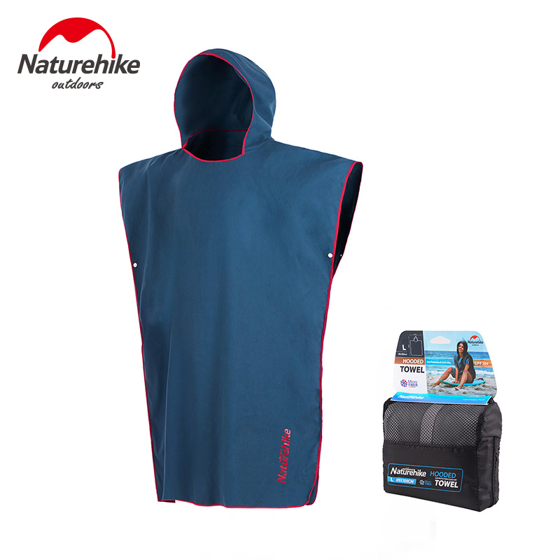 Naturehike Unisex Quick Dry Hooded Bathrobe Beach Bath Towel Robe With Hood For Sports Travel Beach Swimming UV- Protection