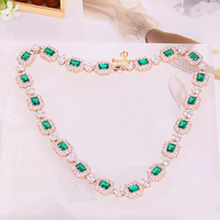 N200852 New Mix Colors Square CZ Necklace Zinc Alloy Silver Color Rose Gold Color With White