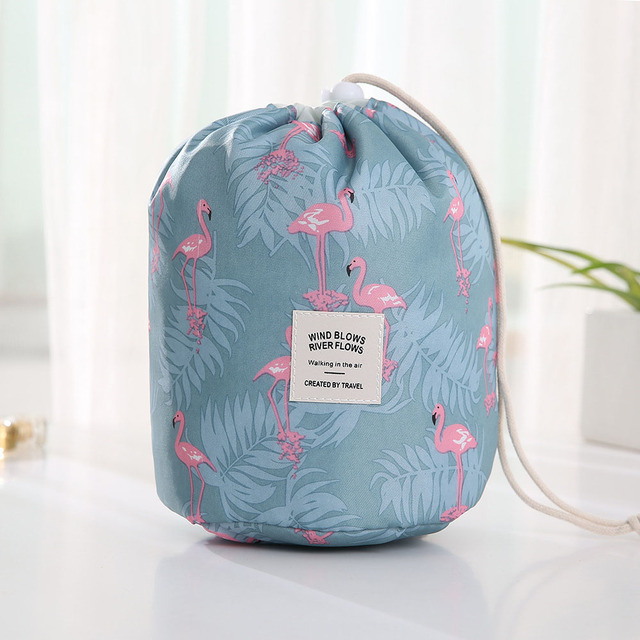 Round Waterproof Makeup and Toiletry Bag for Travelling