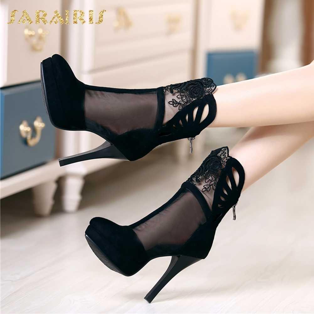 SARAIRIS platformu kadın yaz çizmeler kadın seksi ince yüksek topuklu rahat siyah yarım çizmeler kadın ayakkabısı kadın
