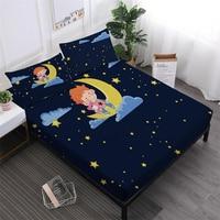 Little Boys Sheets Set Kids Cartoon Dark Blue Moon Starry Bedsheet King Queen Fitted Sheet Deep Pocket Pillowcase Home Decor