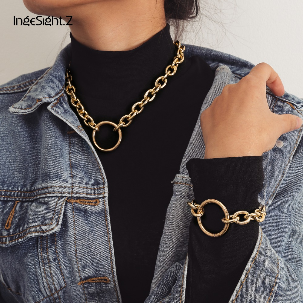 IngeSight.Z Vintage Choker Necklace Collar Statement Punk Big Round Circle Chunky Necklace Bracelet Set for Women Men Jewelry