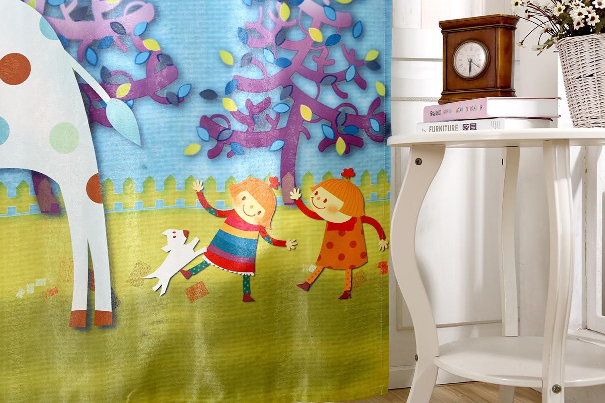 2016 New Korean 3D Printing Color Shade Curtains Children Cartoon Deer Product Customization - 5