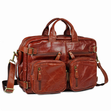 genuine wax oil greased cowhide leather briefcases dress female women's business travel work hand solid soft laptop tote bags
